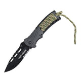 "Hunt-Down 8.5"" Black Spring Assisted Hunting Knife with Fire Starter & Whistle"