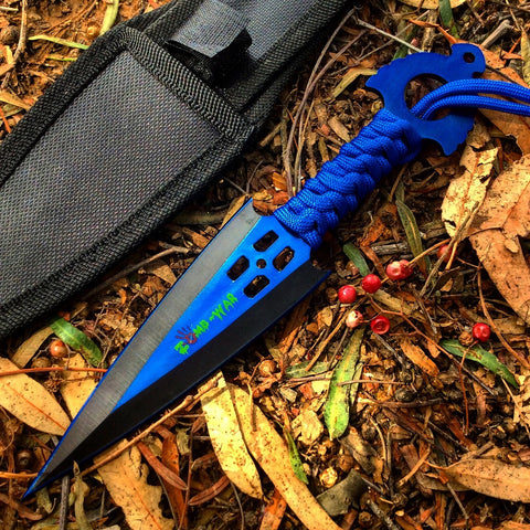 Zomb War Throwing Knife Blue With Sheath