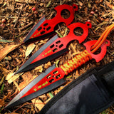 Zomb War 3 Pc Throwing Knife set Red With Sheath