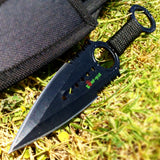 Zomb War Throwing Knife Black color With Sheath and Black cord
