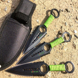 Zomb War 3 Pc Throwing Knife set Black Color With Sheath and Green cord