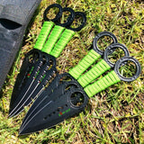 Zomb War 6 Pc Throwing Knife set Black Color With Sheath and Green cord