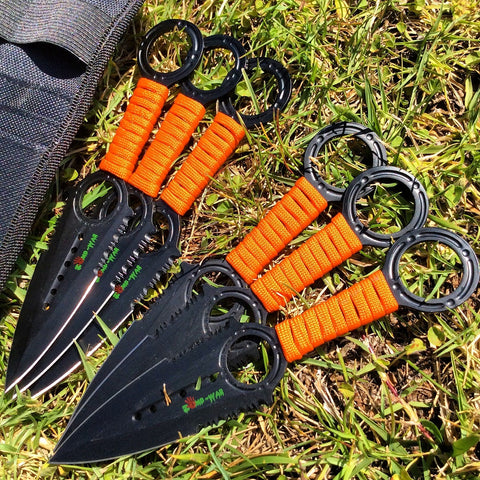 Zomb War 6 Pc Throwing Knife set Black Color With Sheath and Orange cord