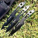 "8"" Three Piece Hunt Down Black Throwing Knife Set With Fish Hook"
