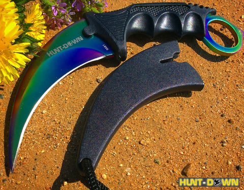 "7.5"" Hunt Down Karambit Multi Color Blade Hunting Knife with Sheath and Clip"
