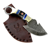 "TheBoneEdge 7.5"" Full Tang Damascus Blade Skinner Knife Slotted Handle With Sheath"