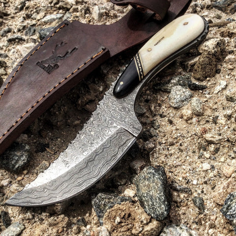 "TheBoneEdge 8.5"" Damascus Skinner Hunting Knife Bone Handle Series"
