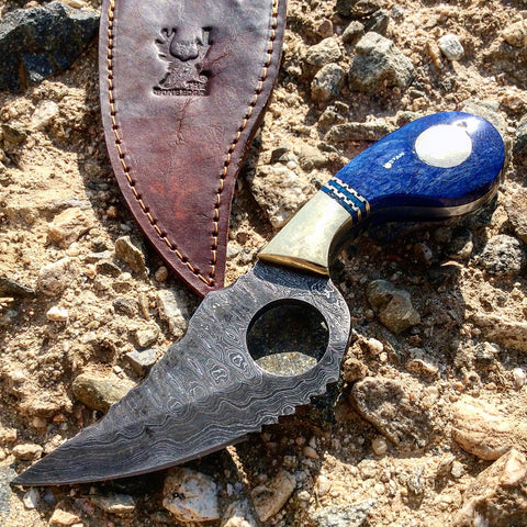 "TheBoneEdge 7.5"" Damascus Blade Hunting Tactical Knife Blue Handle Leather Sheath"