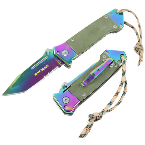 "Hunt-Down 7.5""  Folding Pocket Tactical Rescue Knife With Belt Clip Mixed Colors"