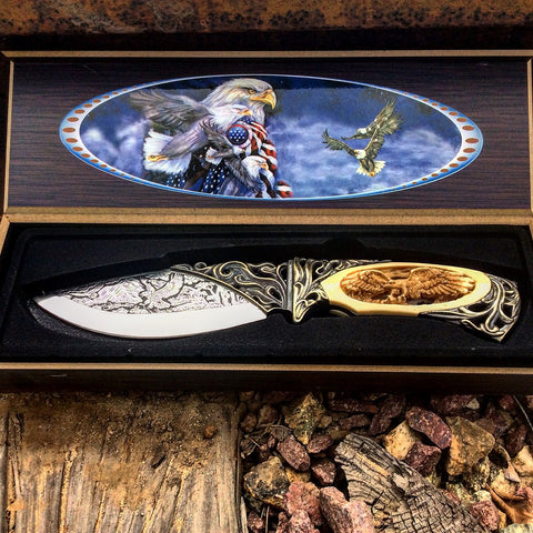 "TheBoneEdge 10"" Eagle Pattern Handle & Blade Hunting Knife With Gift Box"