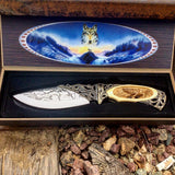 "TheBoneEdge 10"" Wolf Pattern Handle & Blade Hunting Knife With Gift Box"