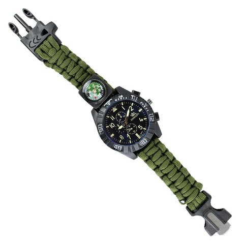 Hunt-Down Moss Finish Ultimate Paracord Watch Travel Camping Survival Tactical Gear