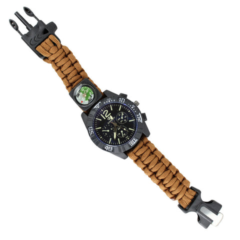 Hunt-Down Coyote Brown Ultimate Paracord Watch Travel Camping Survival Tactical Gear