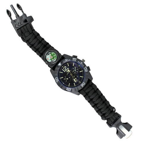 Hunt-Down Black Ultimate Paracord Watch Travel Camping Survival Tactical Gear