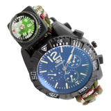 Hunt-Down Moss Camo Ultimate Paracord Watch Travel Camping Survival Tactical Gear