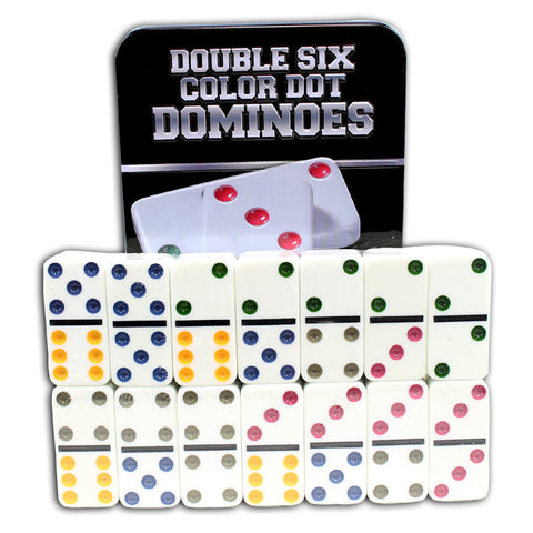 Perrini 28 PC Double 6 Color Dot Dominoes Game for kids New