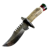 TheBoneEdge Damascus Blade Hunting Sharp Knife Real Stag Handle Leather Sheath