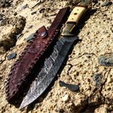 "10.5"" Damascus Blade Hunting Knife with Sheath TheBoneEdge"