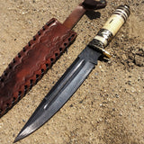 "TheBoneEdge 13"" Damascus Steel Fixed Blade Bone Handle Handmade Hunting Knife"