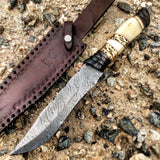 "TheBoneEdge 13"" Damascus Steel Fixed Blade Bone & Horn Handle Hunting Knife"