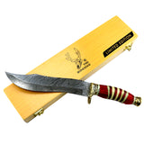 "TheBoneEdge 13"" Damascus Steel Fixed Blade Hand Forged Bone & Wood Handle Knife"