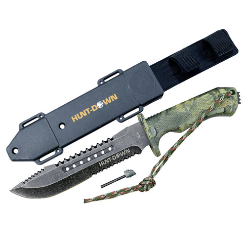 "Hunt-Down 12"" Hunting Tactical Survival Knife with Fire Starter and ABS Sheath"