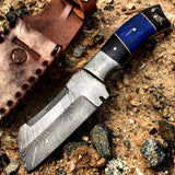 "Hunt-Down 9"" Damascus Blade Hunting Knife Horn Handle With Leather Sheath"