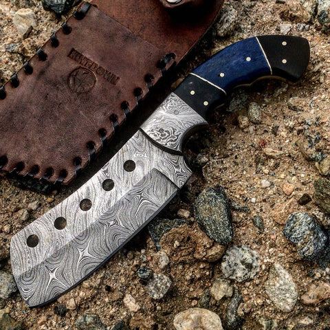 "Hunt-Down 9.5"" Damascus Blade Black & Blue Horn Handle Hunting Knife With Sheath"