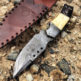 "Hunt-Down 9.5"" Damascus Blade Horn Handle Hunting Knife With Leather Sheath"