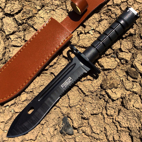 "Defender-Xtreme 13"" M7 Bayonet Hunting Knife with Black Blade / Sheath"
