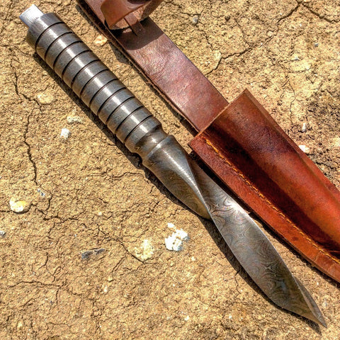 "TheBoneEdge 10"" Hand Forged Damascus Full Tang Kris Blade Hunting Knife Leather Sheath"