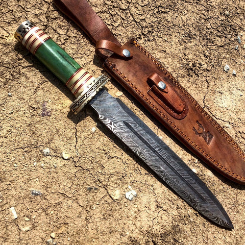 "TheBoneEdge 15"" Damascus Blade Fantasy Handle Hunting Knife with Leather Sheath"