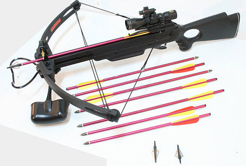 "Hunting Crossbow Package 4x30 Scope Laser 20"" Arrows Tips Cross Bow New Black"