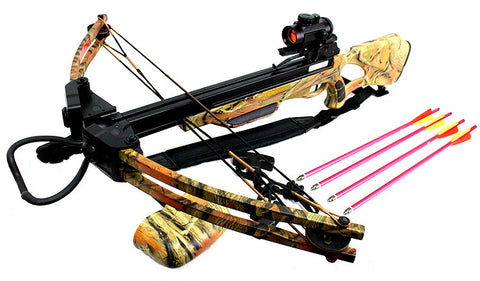 175 LBS Hunting Crossbow Package with Red Dot Scope Arrows Rope Cocking 285 FPS