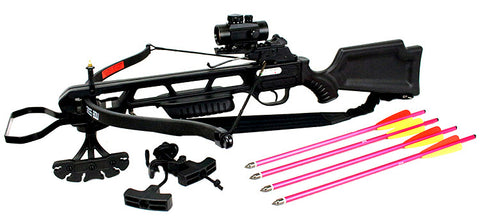 160 LBS Hunting Crossbow Package Scope Arrows Sling Quiver 235 FPS