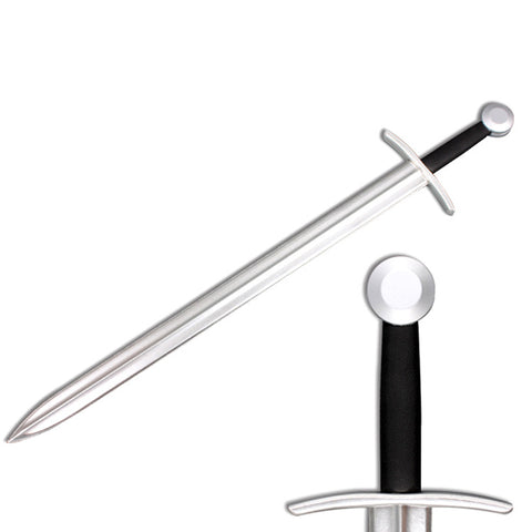 "Defender Medieval Foam Sword 41"" Black Handle with Metallic Chrome Finish on Blade"