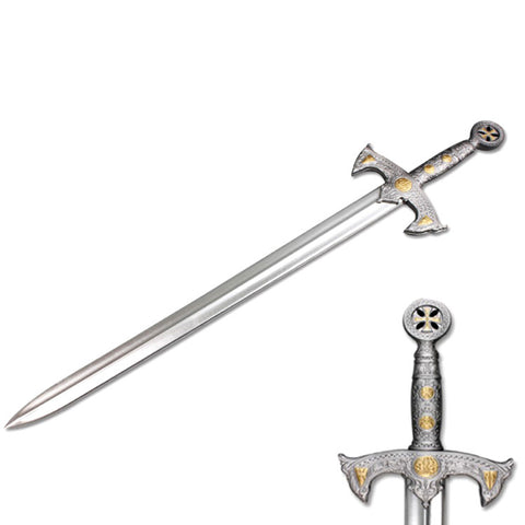 "Defender Medieval Foam Sword 41"" Gray & Brass with Metallic Chrome Finish Knights Templar"