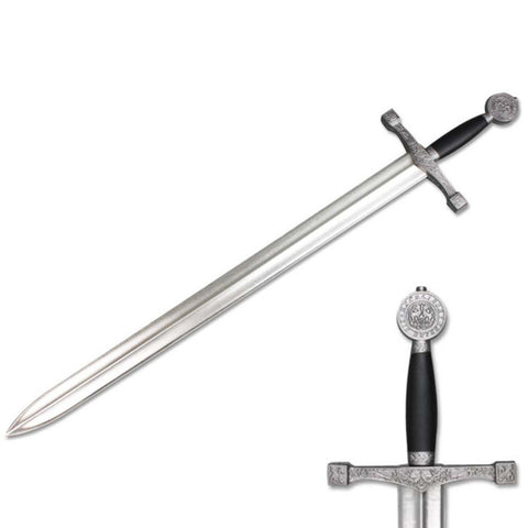 "Defender Medieval Foam Sword 39.5"" Gray & Black Handle with Metallic Chrome Finish Blade"