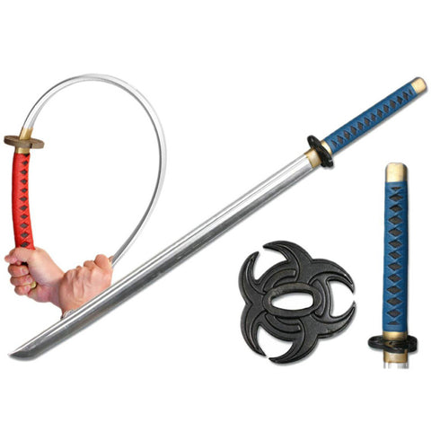 "Defender High Quality Foam Samurai Sword 39"" Blue & Black Handle With Black Decorative Tusba"