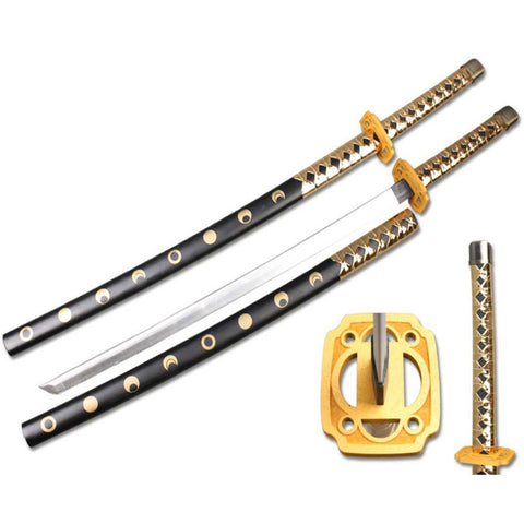 "Defender High Quality Foam Samurai Sword 39"" Gold & Black Handle with Wood Scabbard"