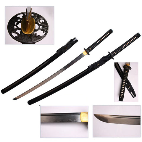 "Defender 40.5"" Hand Forged  1060 Carbon Steel Katana Samurai Sword with Wood Scabbard"