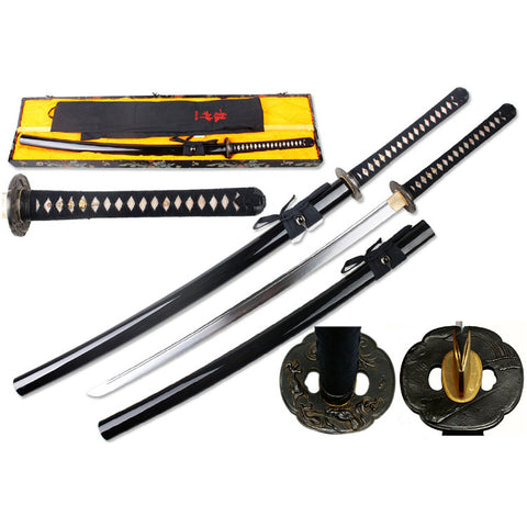 "Defender 41.5"" Hand Forged 1095 Carbon Steel Katana Samurai Sword with Wood Scabbard"