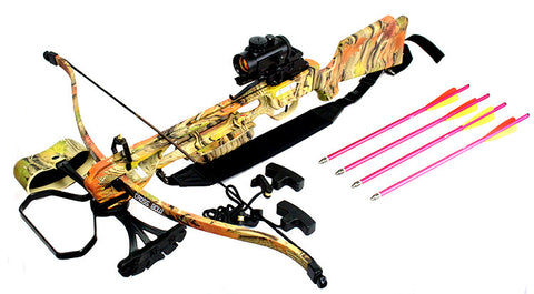 160 LBS Hunting Crossbow Red Dot Sight Arrows Quiver Rope Cocking 235FPS