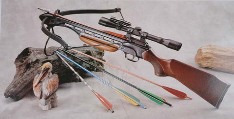 150 Lbs Wood Hunting Crossbow + Scope + Laser + Pack of Arrows