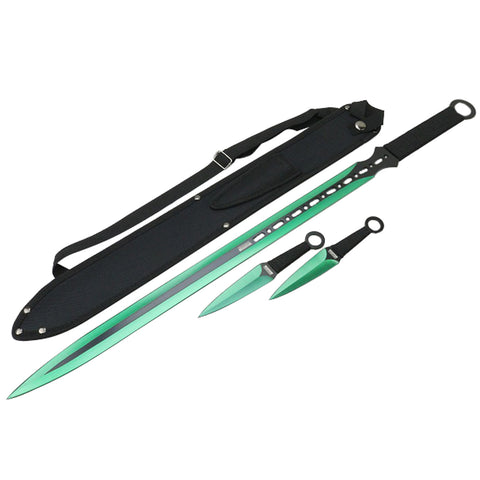"27"" / 7"" Green 2 Tone Blade Sword with Sheath Stainless"