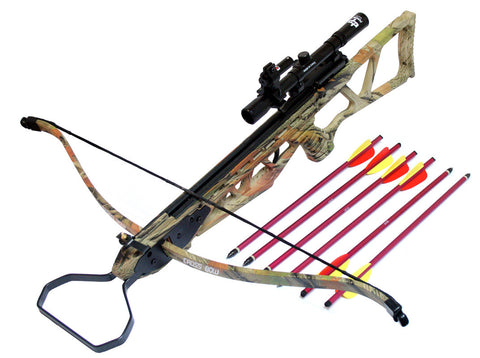 120LBS Recurve Camo Crossbow Hunting Package with Scope + Laser + Pack of Arrows