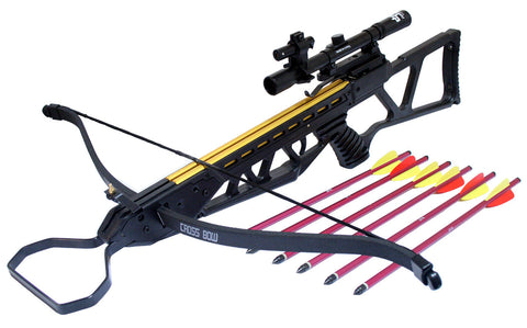120lbs Recurve Black Crossbow Hunting Package with Scope + Laser + Pack of Arrows