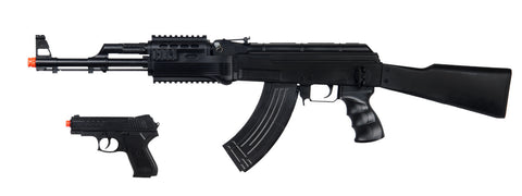 UKARMS SP1247 Tactical AK-47 Spring Rifle, full stock with Bonus Spring Pistol Combo Pack