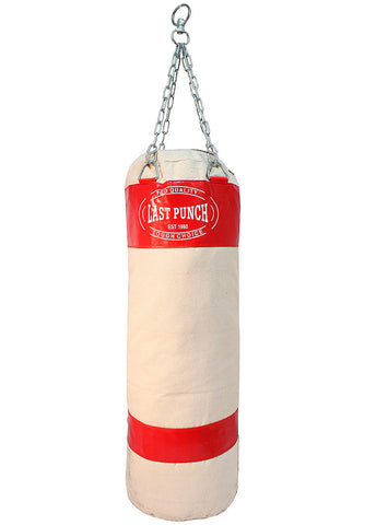 Red Canvas Punching Bag With Chains New Heavy Duty