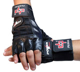 Black Leather Working Out/Weight Lifting Fingerless Gloves